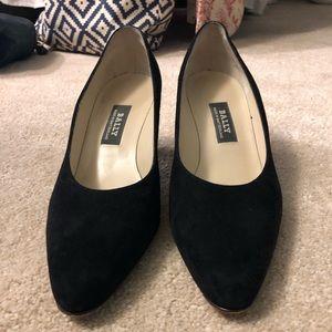 Bally's black suede heels